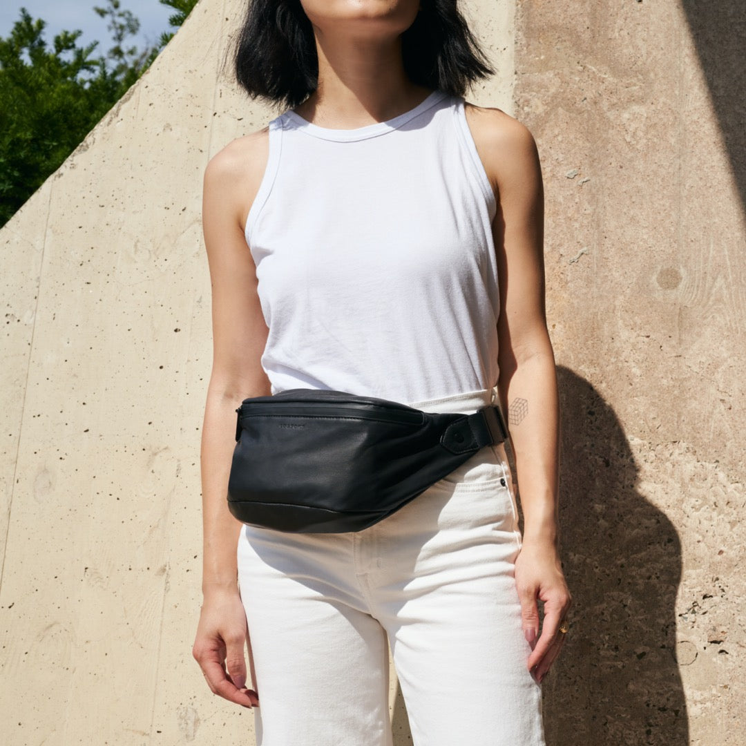 Fanny Pack Waist Style - Bond - Sheepskin Leather - Black / Black / Grey - Crossbody Bag - Lo & Sons
