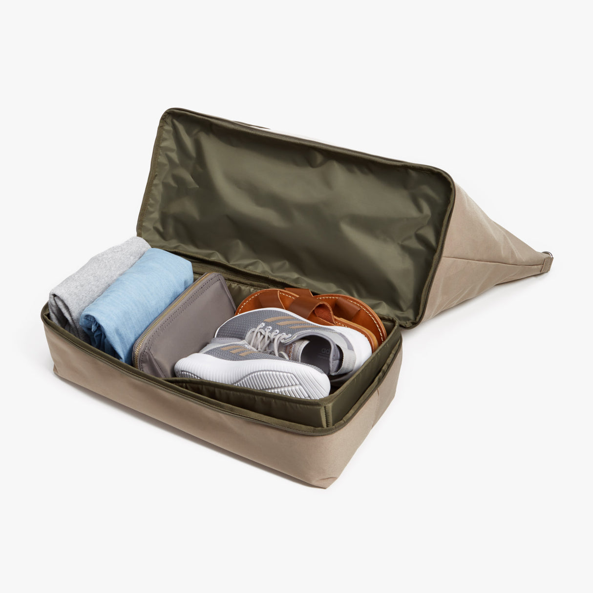 Bottom Pocket - Catalina Deluxe - 600D Recycled Poly - Tan / Silver / Green - Weekender - Lo & Sons