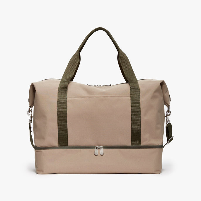 Front - Catalina Deluxe - 600D Recycled Poly - Tan / Silver / Green - Weekender - Lo & Sons