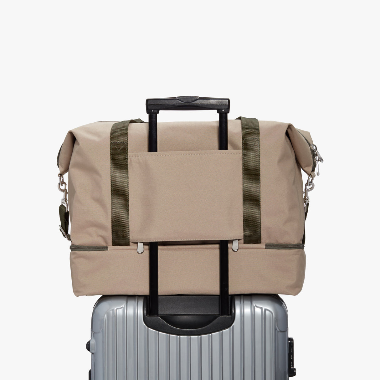 Luggage - Catalina Deluxe - 600D Recycled Poly - Tan / Silver / Green - Weekender - Lo & Sons
