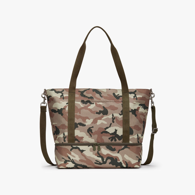 Front - Catalina Deluxe Tote - 600D Recycled Poly - Tan Camo - Tote - Lo & Sons