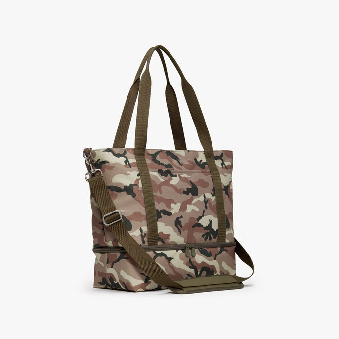 Side - Catalina Deluxe Tote - 600D Recycled Poly - Tan Camo - Tote - Lo & Sons