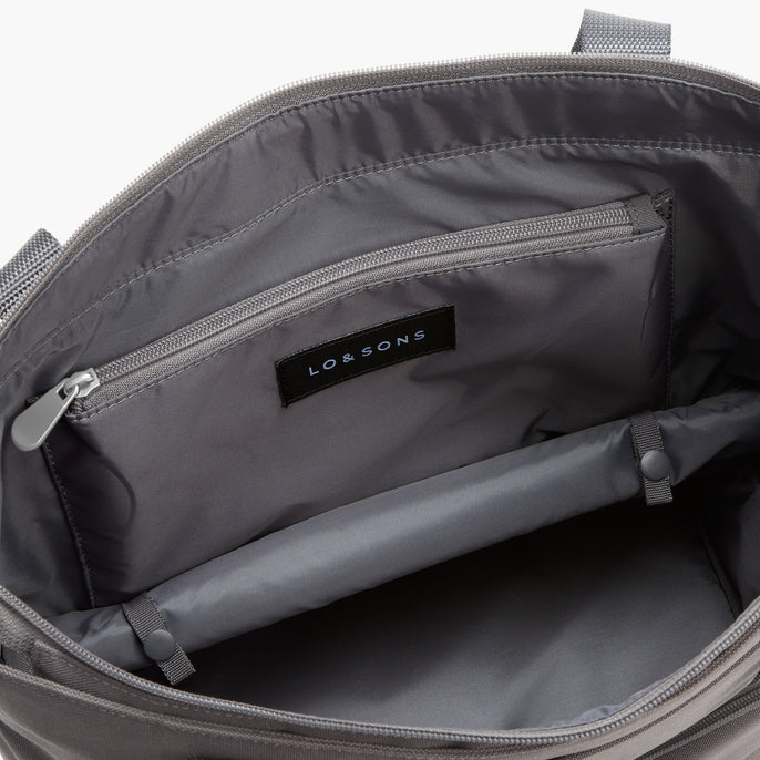 Bottom Pocket Expandable - Catalina Day Tote - 600D Recycled Poly - Grey - Tote - Lo & Sons
