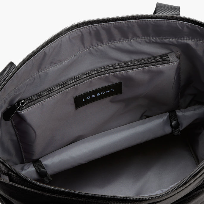 Bottom Pocket Expandable - Catalina Day Tote - 600D Recycled Poly - Onyx - Tote - Lo & Sons