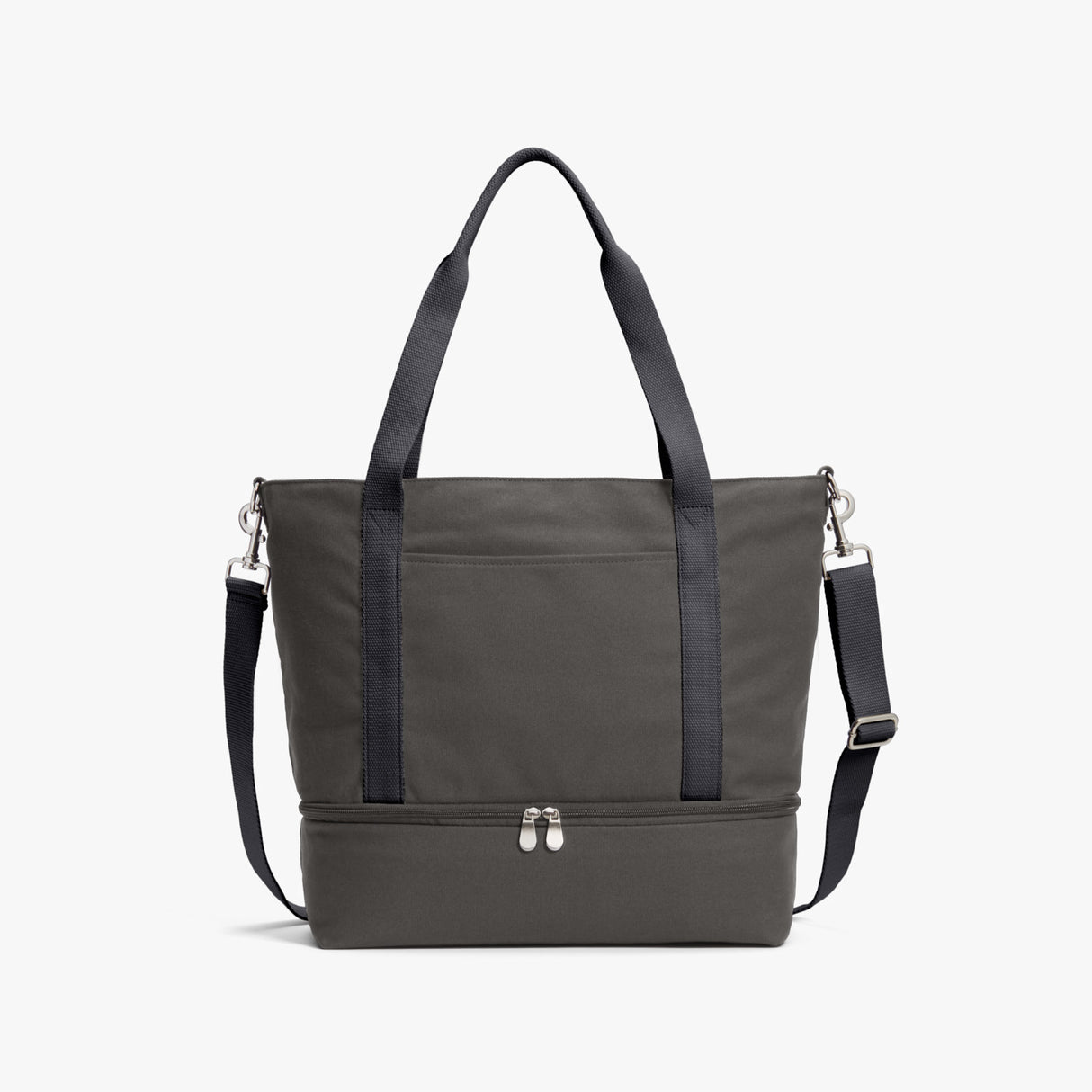 Front - The Catalina Deluxe Tote - Organic Canvas - Grey - Tote - Lo & Sons