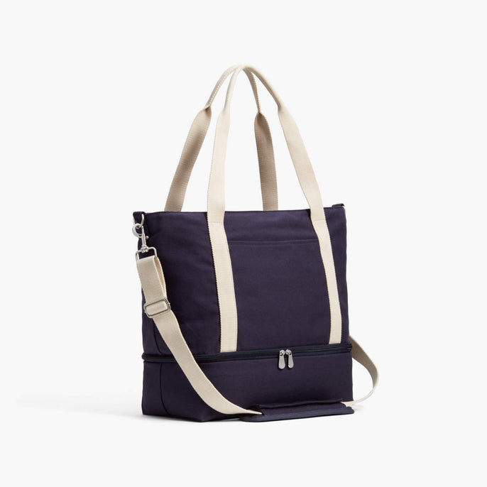 Side - Catalina Deluxe Tote - Organic Canvas - Deep Navy - Tote - Lo & Sons