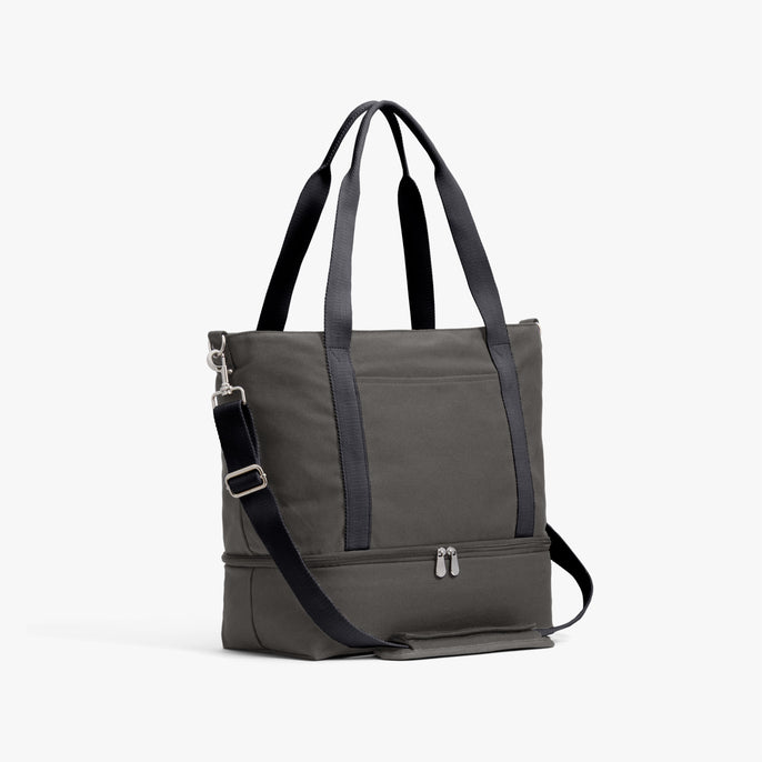 Side - The Catalina Deluxe Tote - Organic Canvas - Grey - Tote - Lo & Sons