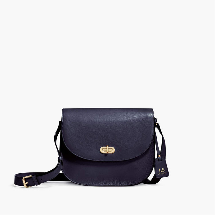 Front - Claremont - Full Grain Leather - Deep Navy - Crossbody Bag - Lo & Sons