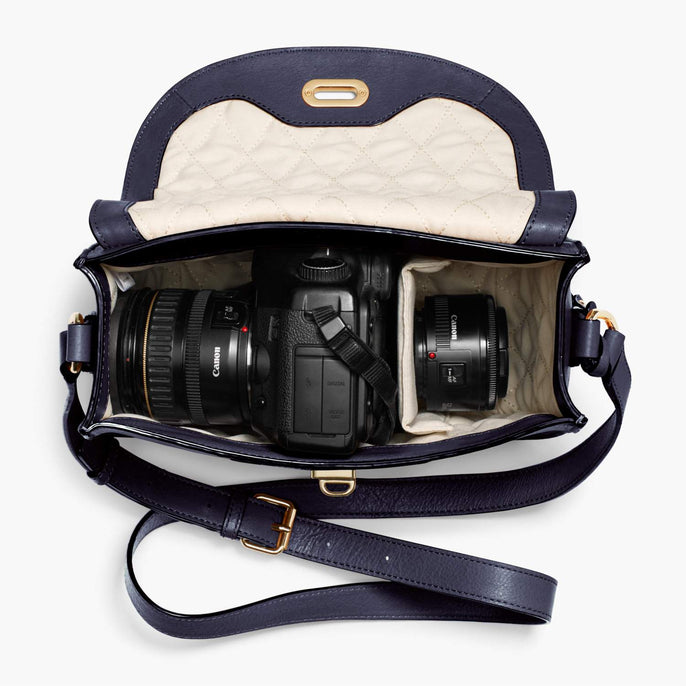 Interior Camera Packed - Claremont - Full Grain Leather - Deep Navy - Crossbody Bag - Lo & Sons