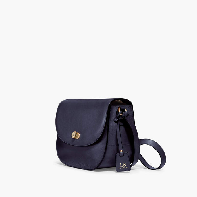Side - Claremont - Full Grain Leather - Deep Navy - Crossbody Bag - Lo & Sons