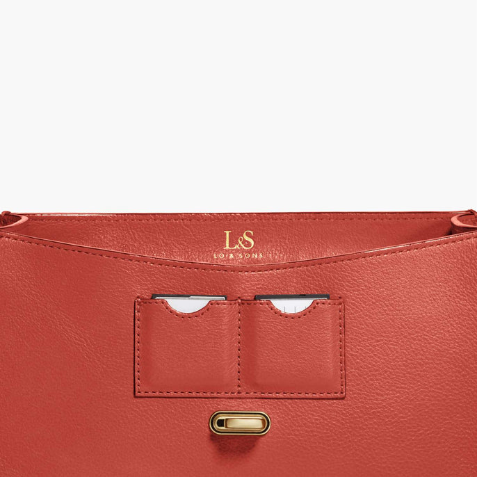 Card Slot - Claremont - Full Grain Leather - Santa Fe Red - Crossbody Bag - Lo & Sons
