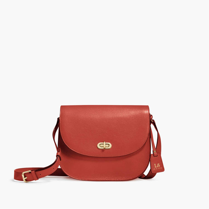 Front - Claremont - Full Grain Leather - Santa Fe Red - Crossbody Bag - Lo & Sons