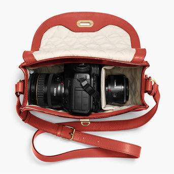 Interior Camera Packed - Claremont - Full Grain Leather - Santa Fe Red - Crossbody Bag - Lo & Sons