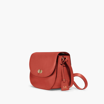 Side - Claremont - Full Grain Leather - Santa Fe Red - Crossbody Bag - Lo & Sons