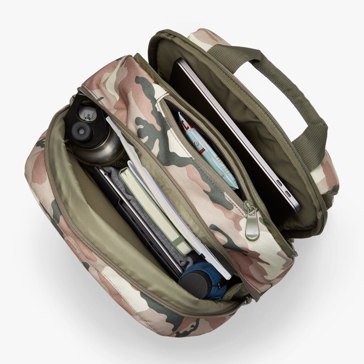Interior Full - Hanover 2 - 600D Recycled Poly - Tan Camo - Backpack - Lo & Sons