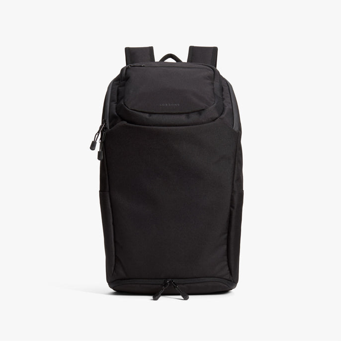 Front - The Hakuba - 600D Recycled Poly - Onyx / Black / Grey Wave - Backpack - Lo & Sons