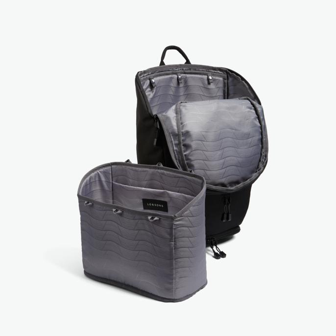 Insert - The Hakuba - 600D Recycled Poly - Onyx / Black / Grey Wave - Backpack - Lo & Sons