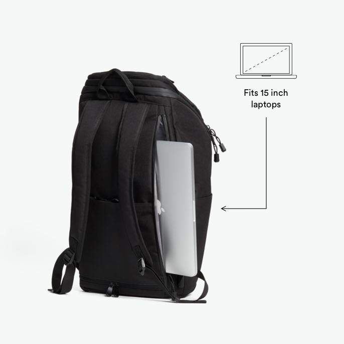 Laptop - The Hakuba - 600D Recycled Poly - Onyx / Black / Grey Wave - Backpack - Lo & Sons