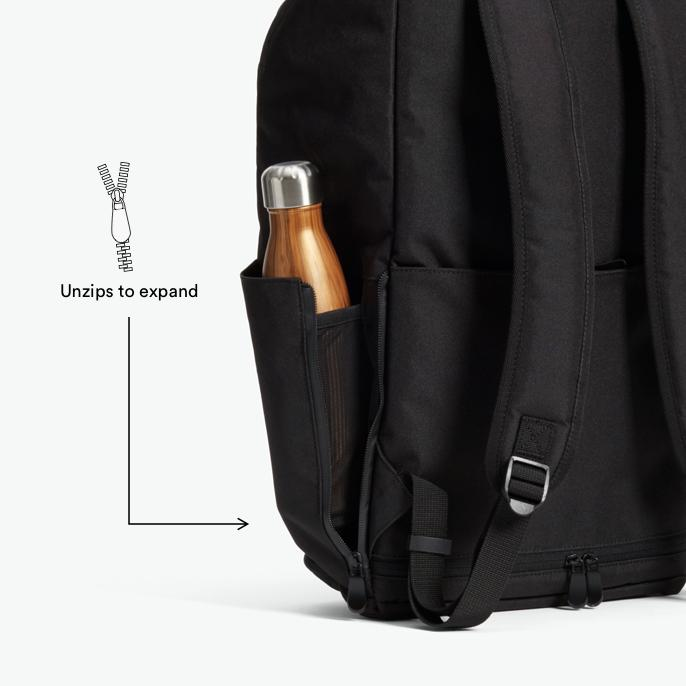 Water Bottle - The Hakuba - 600D Recycled Poly - Onyx / Black / Grey Wave - Backpack - Lo & Sons