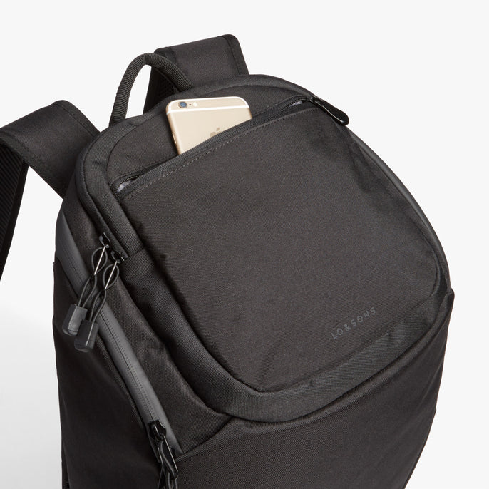 Front Pocket - The Hakuba - 600D Recycled Poly - Onyx / Black / Grey Wave - Backpack - Lo & Sons