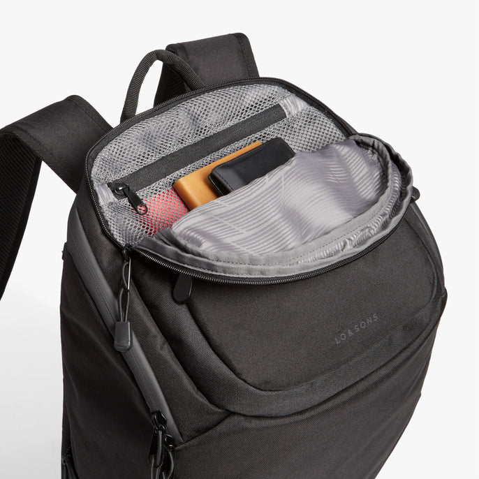 Top Pocket - The Hakuba - 600D Recycled Poly - Onyx / Black / Grey Wave - Backpack - Lo & Sons