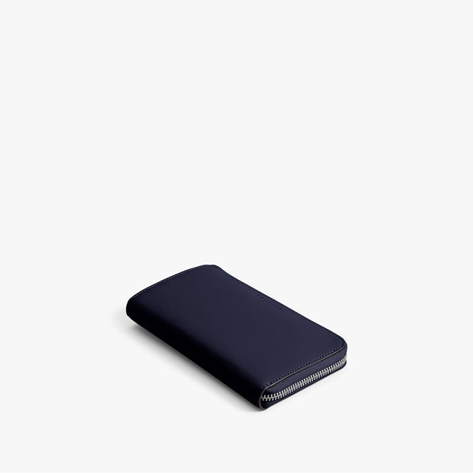 Front - The Leather Wallet - Nappa Leather - Deep Navy / Silver / Azure - Small Accessory - Lo & Sons