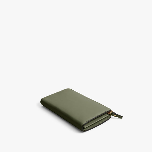 Back - Leather Wallet - Nappa Leather - Sage Green / Gold / Camel - Small Accessory - Lo & Sons