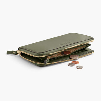 Coin Pocket - Leather Wallet - Nappa Leather - Sage Green / Gold / Camel - Small Accessory - Lo & Sons
