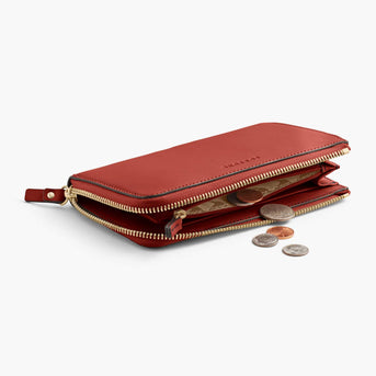 Coin Pocket - Leather Wallet - Nappa Leather - Santa Fe Red / Gold / Camel - Small Accessory - Lo & Sons