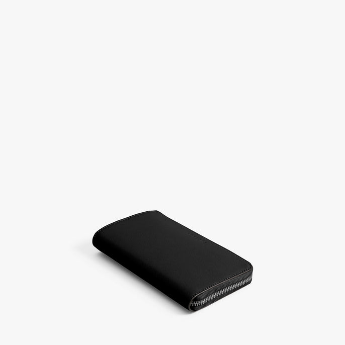 Front - Leather Wallet - Saffiano Leather - Black / Gunmetal / Grey - Small Accessory - Lo & Sons