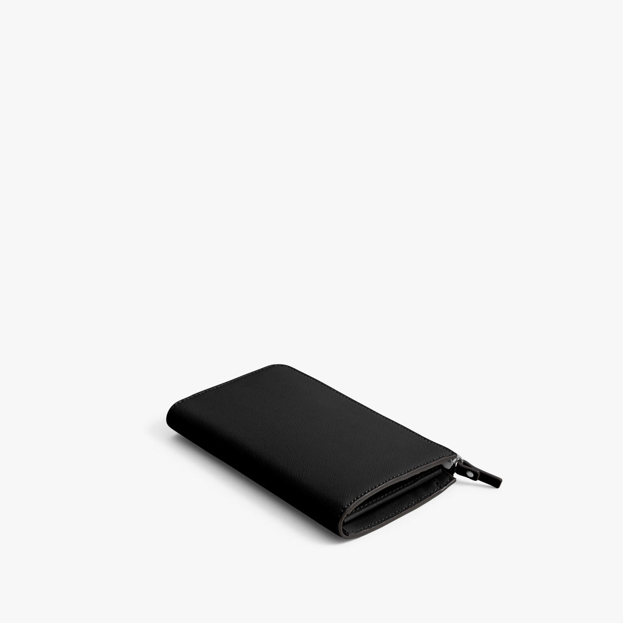 Back - Leather Wallet - Saffiano Leather - Black / Silver / Grey - Small Accessory - Lo & Sons
