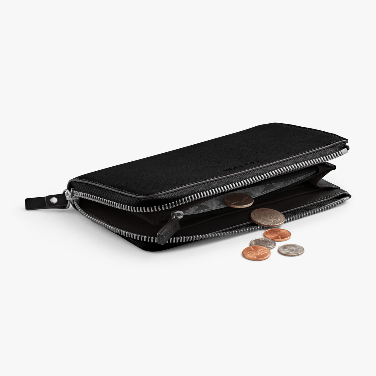 Coin Pocket - Leather Wallet - Saffiano Leather - Black / Silver / Grey - Small Accessory - Lo & Sons