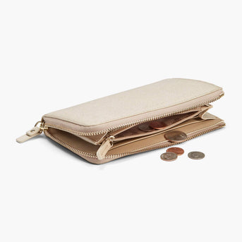 Coin Pocket - Leather Wallet - Saffiano Leather - Champagne / Gold / Camel - Small Accessory - Lo & Sons