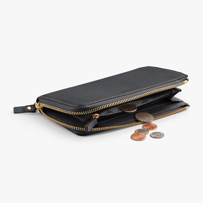Coin - Leather Wallet - Saffiano Leather - Dark Grey / Gold / Grey - Small Accessory - Lo & Sons