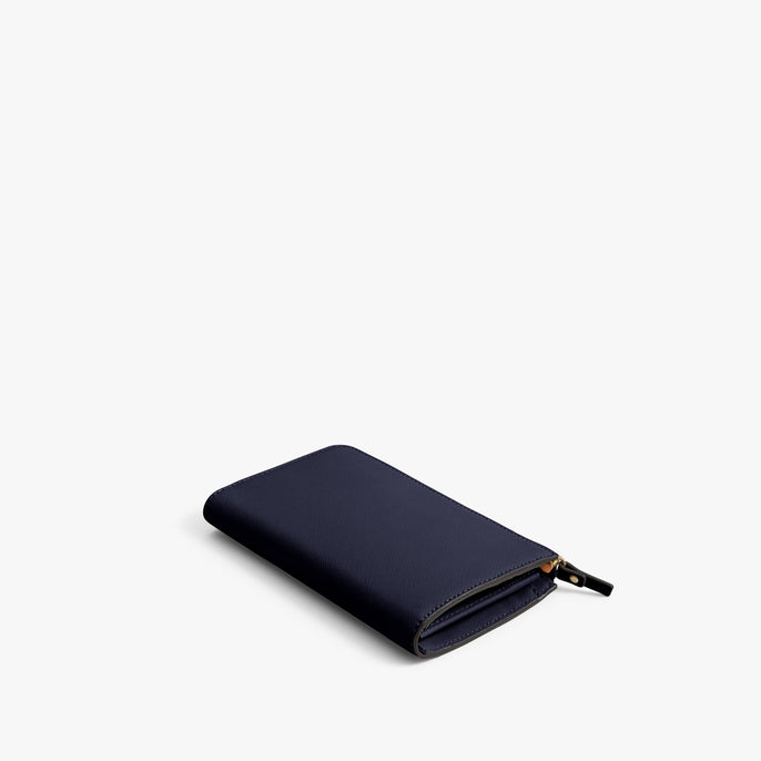 Back - Leather Wallet - Saffiano Leather - Deep Navy / Gold / Camel - Small Accessory - Lo & Sons