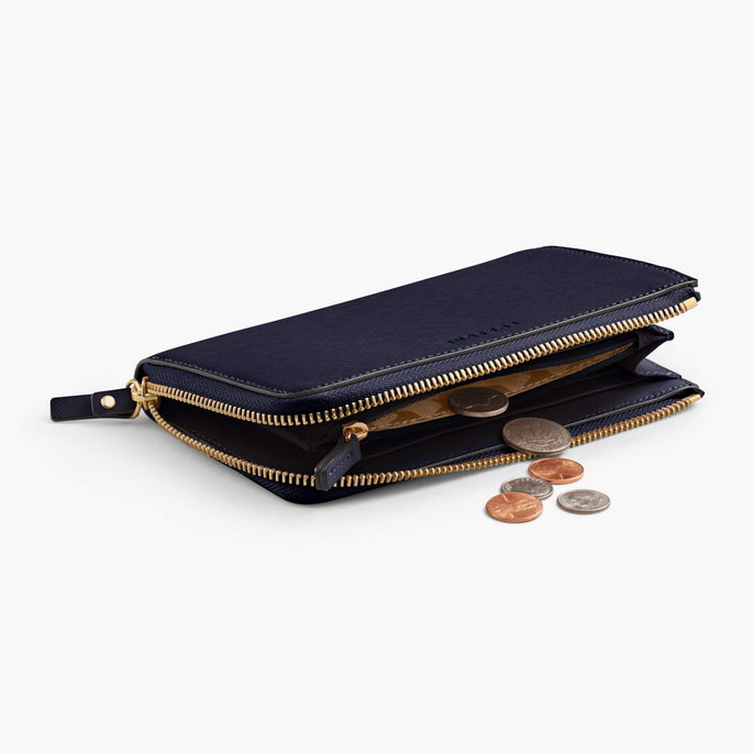 Coin Pocket - Leather Wallet - Saffiano Leather - Deep Navy / Gold / Camel - Small Accessory - Lo & Sons