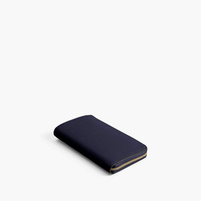 Front - Leather Wallet - Saffiano Leather - Deep Navy / Gold / Camel - Small Accessory - Lo & Sons