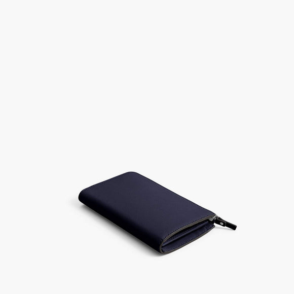 Back - Leather Wallet - Saffiano Leather - Deep Navy / Silver / Azure - Small Accessory - Lo & Sons