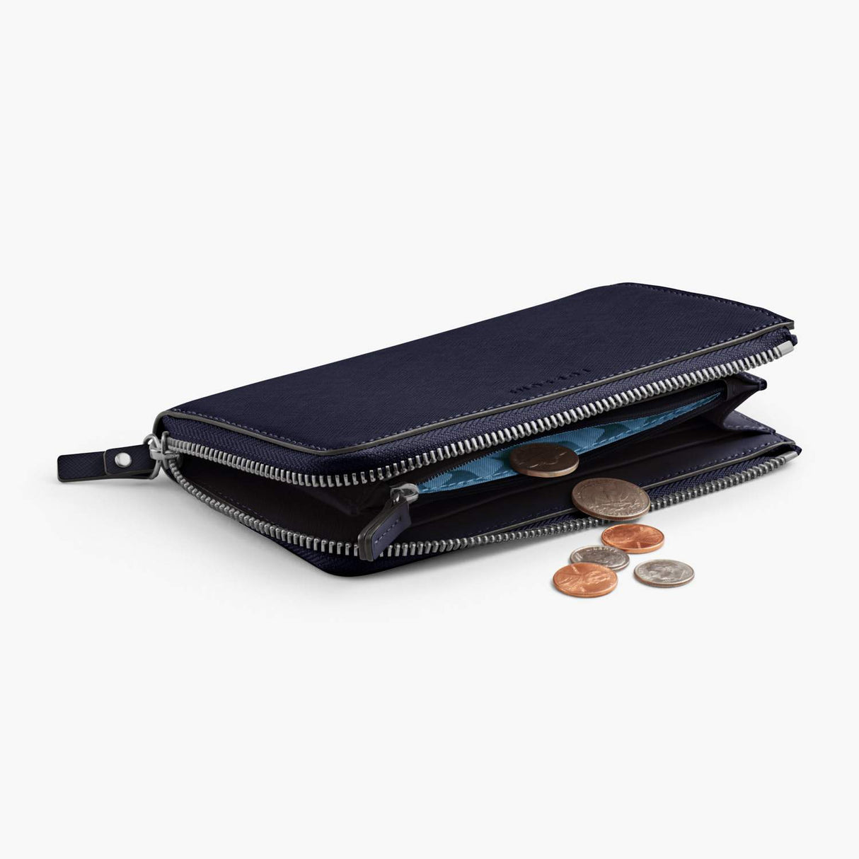 Coins - Leather Wallet - Saffiano Leather - Deep Navy / Silver / Azure - Small Accessory - Lo & Sons