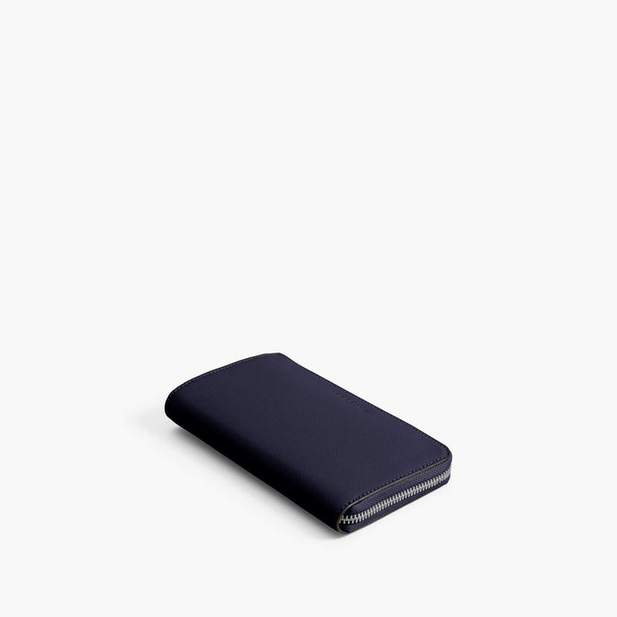 Front - Leather Wallet - Saffiano Leather - Deep Navy / Silver / Azure - Small Accessory - Lo & Sons