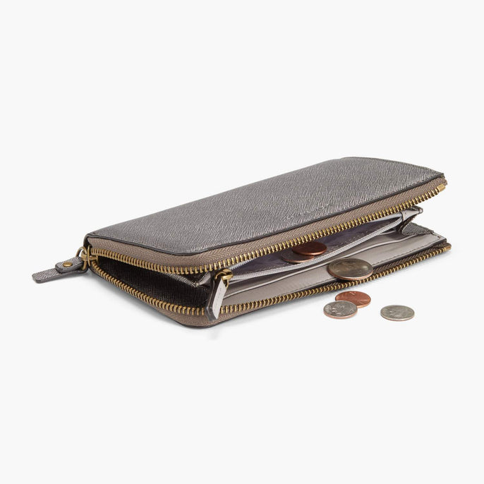 Coin Pocket - Leather Wallet - Saffiano Leather - Graphite / Brass / Grey - Small Accessory - Lo & Sons