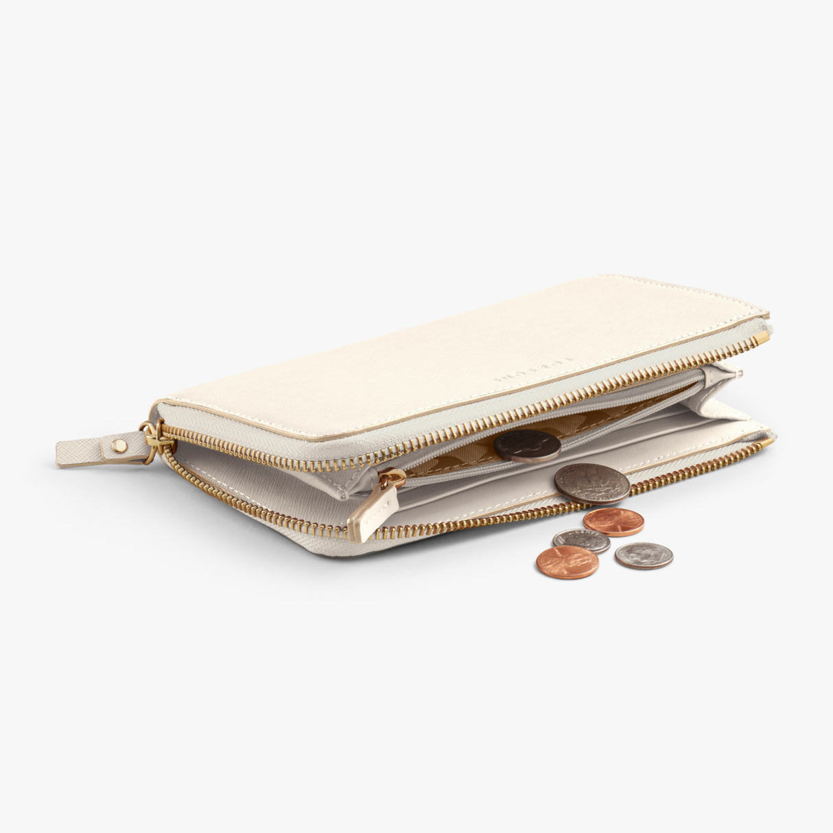 Coin - The Leather Wallet - Saffiano Leather - Ivory / Gold / Camel - Small Accessory - Lo & Sons