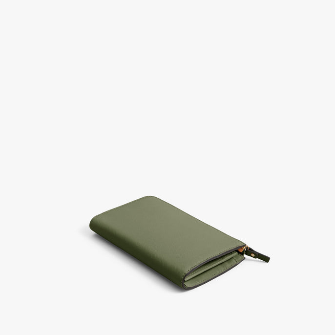 Back - Leather Wallet - Saffiano Leather - Sage Green / Gold / Camel - Small Accessory - Lo & Sons