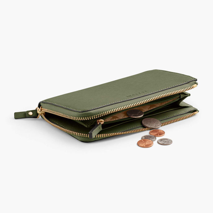 Coin Pocket - Leather Wallet - Saffiano Leather - Sage Green / Gold / Camel - Small Accessory - Lo & Sons