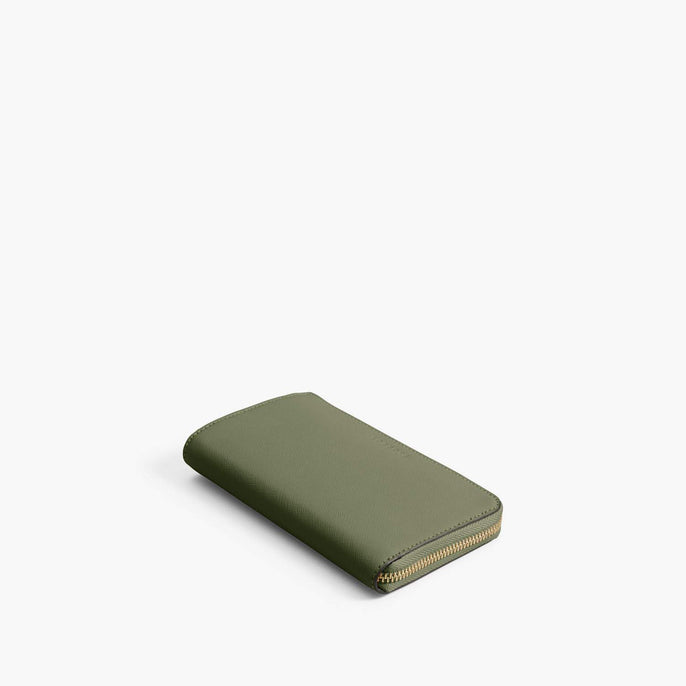 Front - Leather Wallet - Saffiano Leather - Sage Green / Gold / Camel - Small Accessory - Lo & Sons