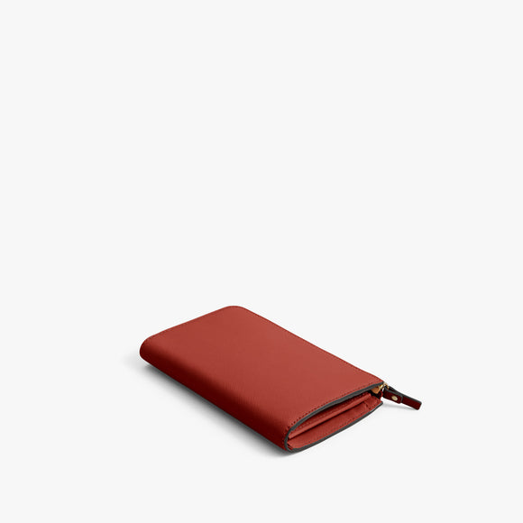 Back - Leather Wallet - Saffiano Leather - Santa Fe Red / Gold / Camel - Small Accessory - Lo & Sons