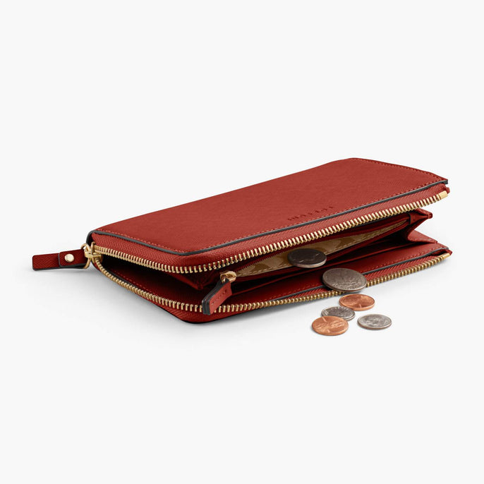 Coin Pocket - Leather Wallet - Saffiano Leather - Santa Fe Red / Gold / Camel - Small Accessory - Lo & Sons