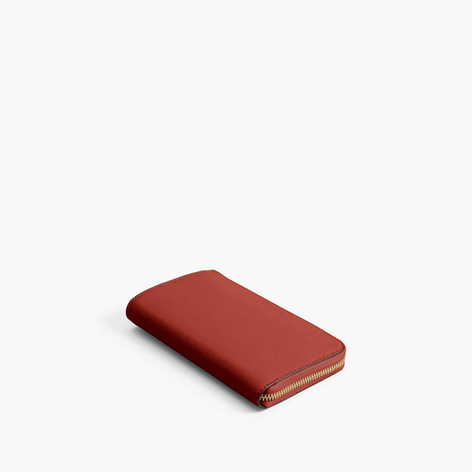 Front - Leather Wallet - Saffiano Leather - Santa Fe Red / Gold / Camel - Small Accessory - Lo & Sons