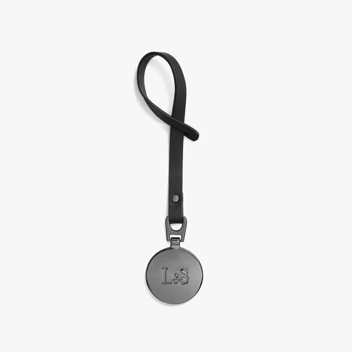 Front - L&S Medallion - Nappa Leather - Black / Gunmetal - Small Accessory - Lo & Sons