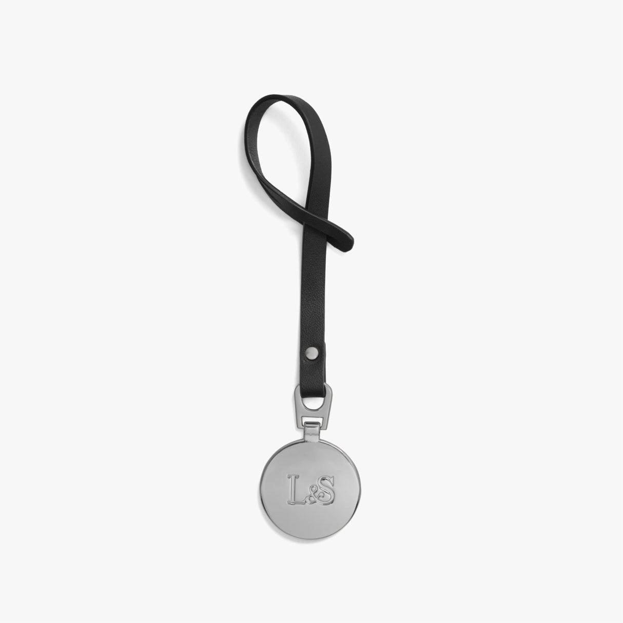 Front - L&S Medallion - Nappa Leather - Black / Silver - Small Accessory - Lo & Sons